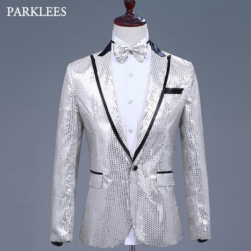 5286b683 2019 Shiny Silver Sequins Glitter Blazer Jacket Men Notch Lapel Single  Button Mens Prom Stage Party Dress Suits Singer Costumes Homme From  Manteau, ...