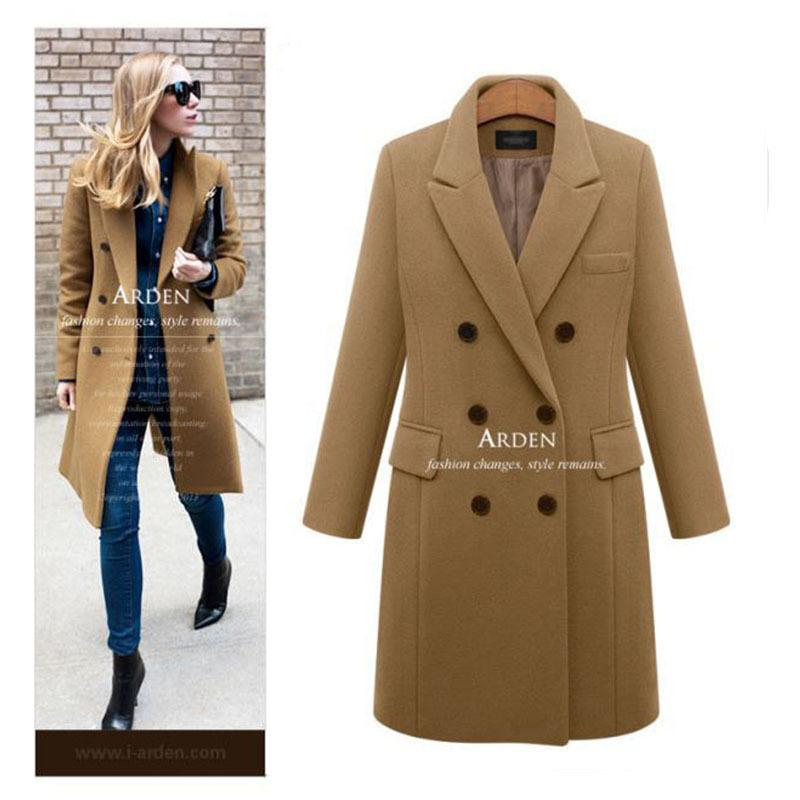 Autumn Winter Coat Women Casual Wool Solid Jackets Blazers Female Elegant Double Breasted Long Coat Ladies Plus Size 5xl