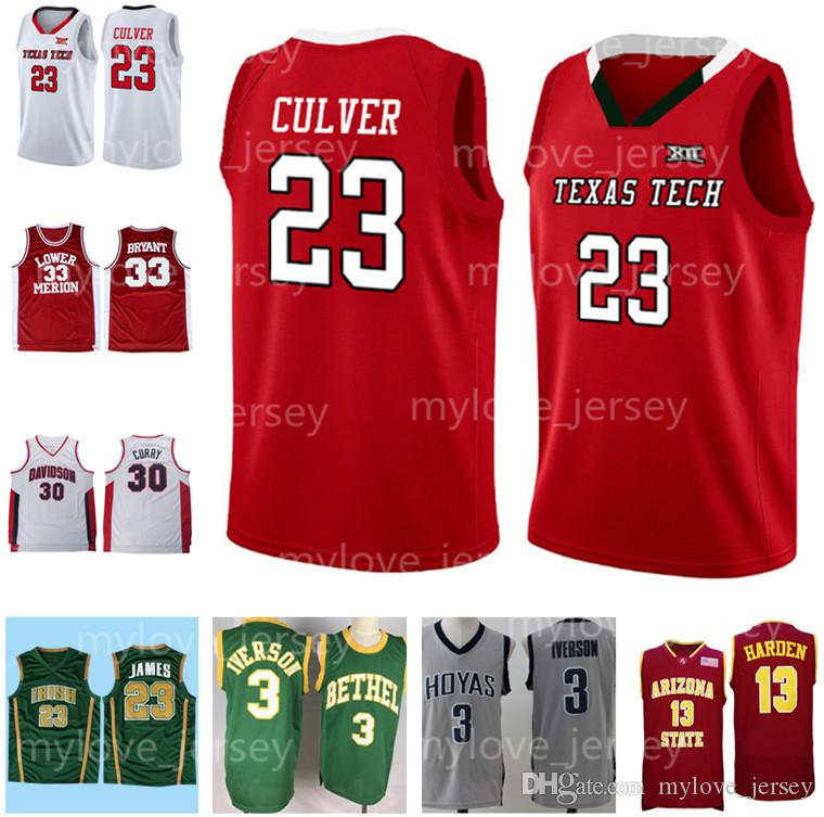 pretty nice 72088 edcb3 NCAA 23 Jarrett Culver Jersey Texas Tech Red Raiders Allen 3 Iverson  Georgetown basketball Jerseys