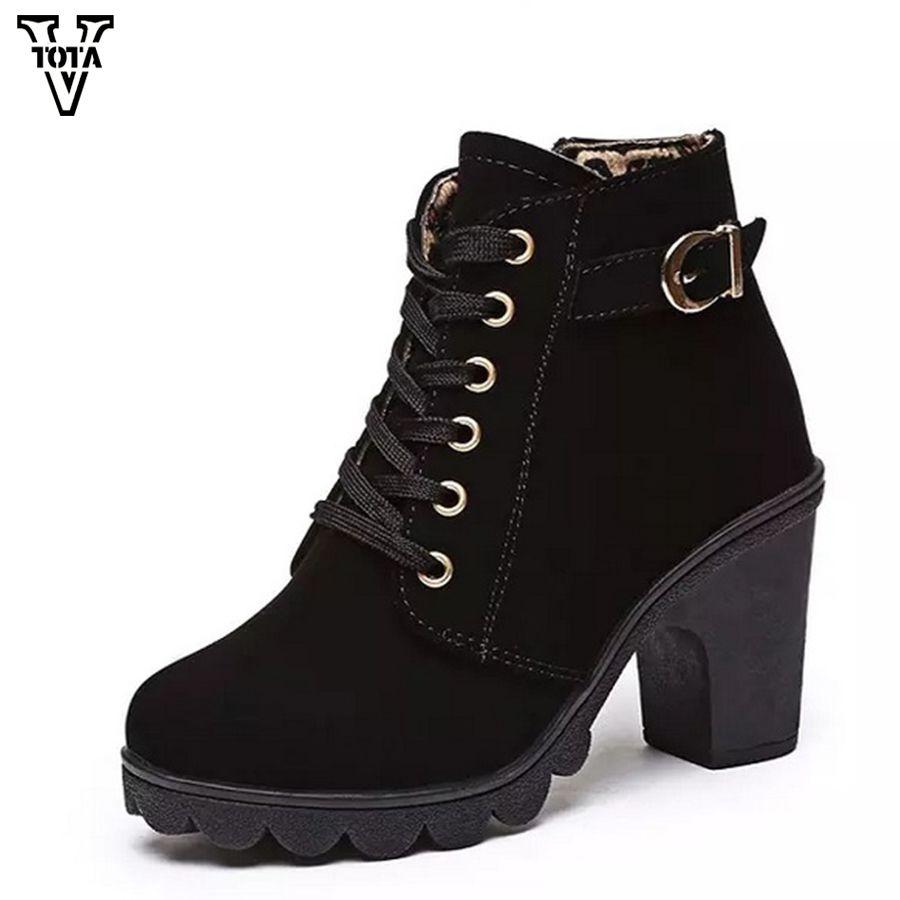 dad751454 Compre Mulheres Botas Outono Inverno Sapatos De Mulher De Salto Alto  Mulheres Sapatos Botas De Tornozelo Zapatos De Mujer Zipper Bota Feminina  QY03 De ...