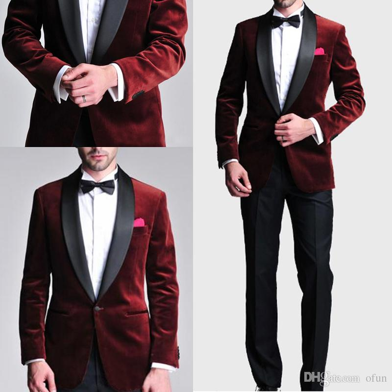 0e0ffbdf6a14 2019 New Fashion Slim Fit Burgundy Velvet Groom Tuxedos Wedding Suits  Custom Made Groomsmen Prom Suits Black Pants (Jacket+Pants+Bow Tie)