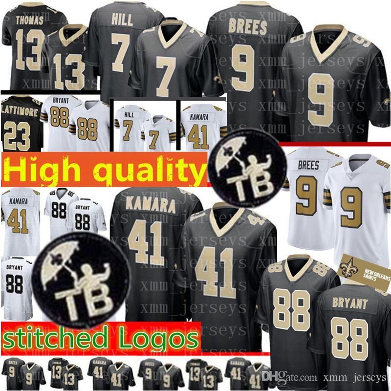 buy online b2844 a8690 New Orleans Saints 9 Drew Brees Jersey Mens 41 Alvin Kamara 7 Taysom Hill  88 Dez Bryant 23 Marshon Lattimore 13 Thomas Jerseys TB