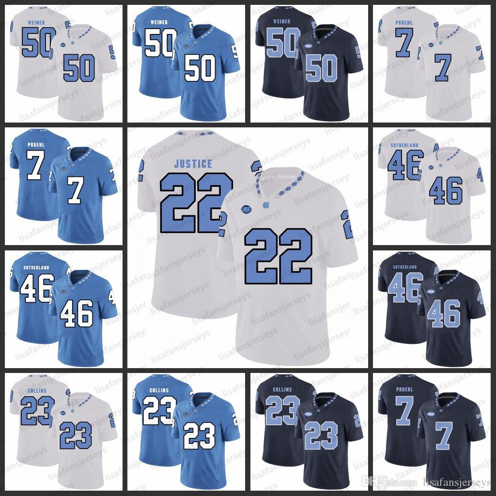 finest selection a23c5 44c20 North Carolina stitched Jerseys 50 Art Weiner 7 Austin Proehl 46 Bill  Sutherland 23 Cayson Collins Charlie Justice College Football Jersey