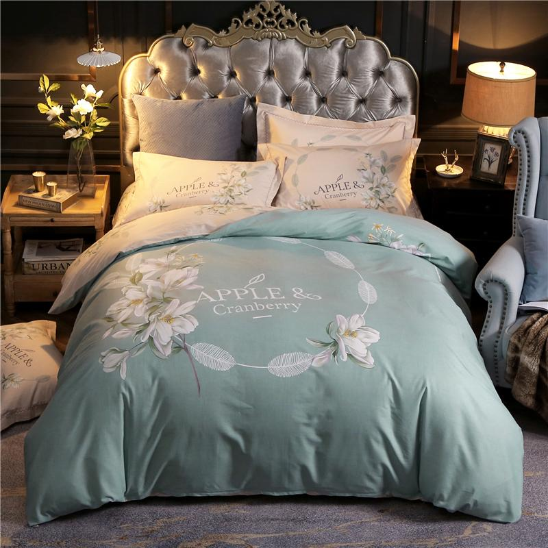 100 Cotton Floral Print Bedding Set Queen King Size Duvet Cover Bedsheets Pillowcase Modern Home Apartment Farm House Decor