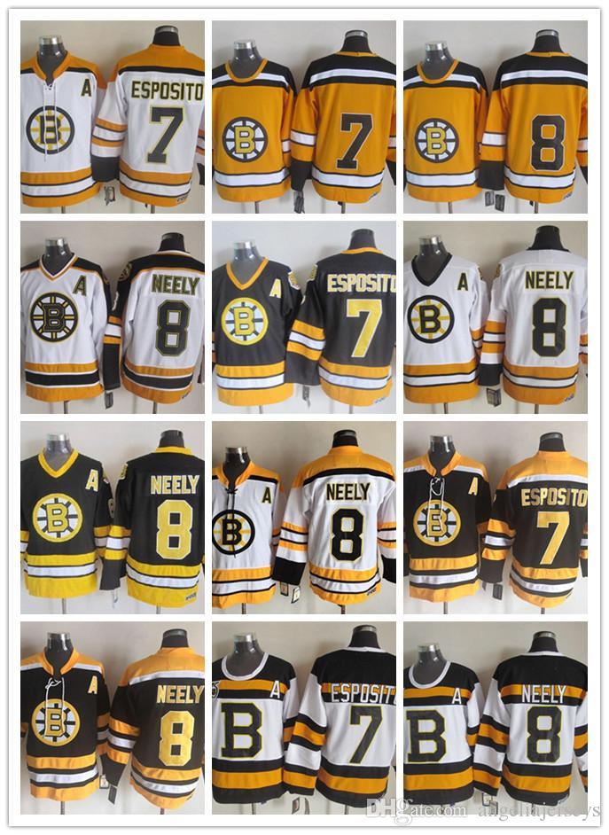 size 40 eb362 51b23 Top Quality Boston Bruins 7 Phil Esposito NHL Jerseys 8 Cam Neely CCM  Vintage Man Ice Hockey Jersey Black White Yellow