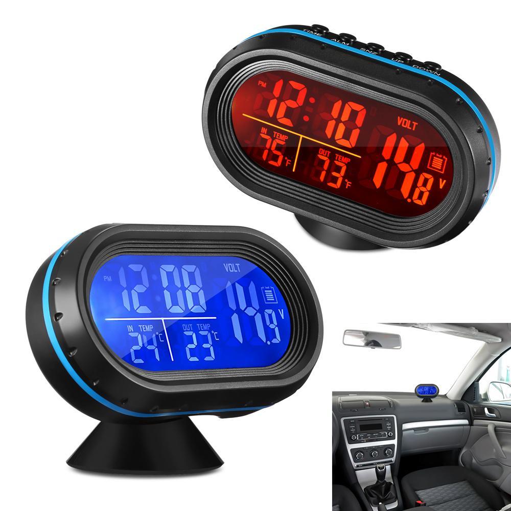 6fc83a5ba6ad Compre Monitor De Voltaje Del Coche Reloj Del Coche Termómetro Digital  Retroiluminación Reloj Digital Con Termómetro Y Voltímetro Automotriz A   48.54 Del ...