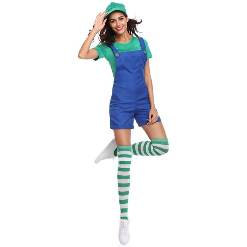 TITIVATE New Super Mario Women Costume Sexy Plumber Costume Mario Bros Fancy Super 3 Colors 4 Pcs Costumes for Adults