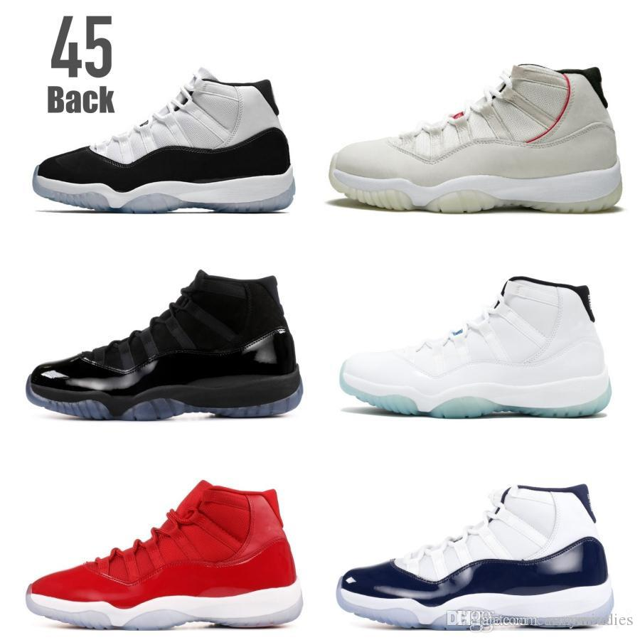 2ba1b0411264c5 Platinum Tint Cap And Gown 11 Concord 45 Back 11s Basketball Shoes ...