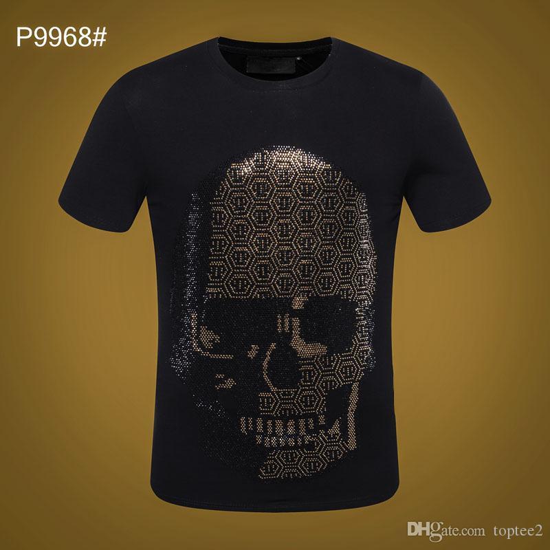 c4419aee60a1 PP Summer Mens Luxury Brand Tshirt Skull Print Rivet Beads Tops Fashion  Designer Tshirt High O Neck Quality Skull Tees  7688 Super Cool T Shirts  And T ...