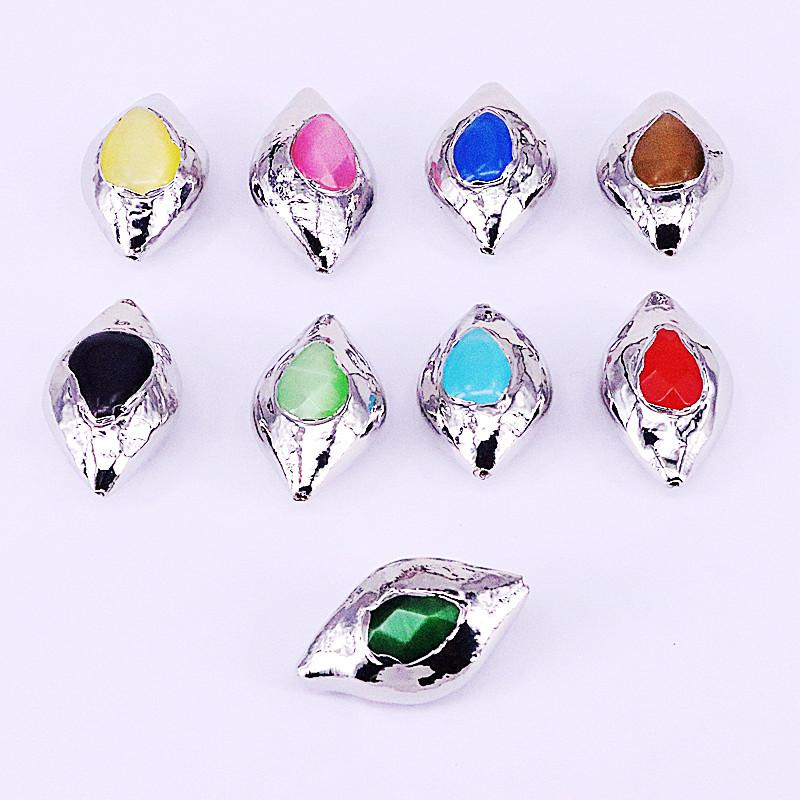 10Pcs New Fashion Silver Color Multicolor Natural Cat Eyes Stone Connector Spacer Beads Jewelry Accessories