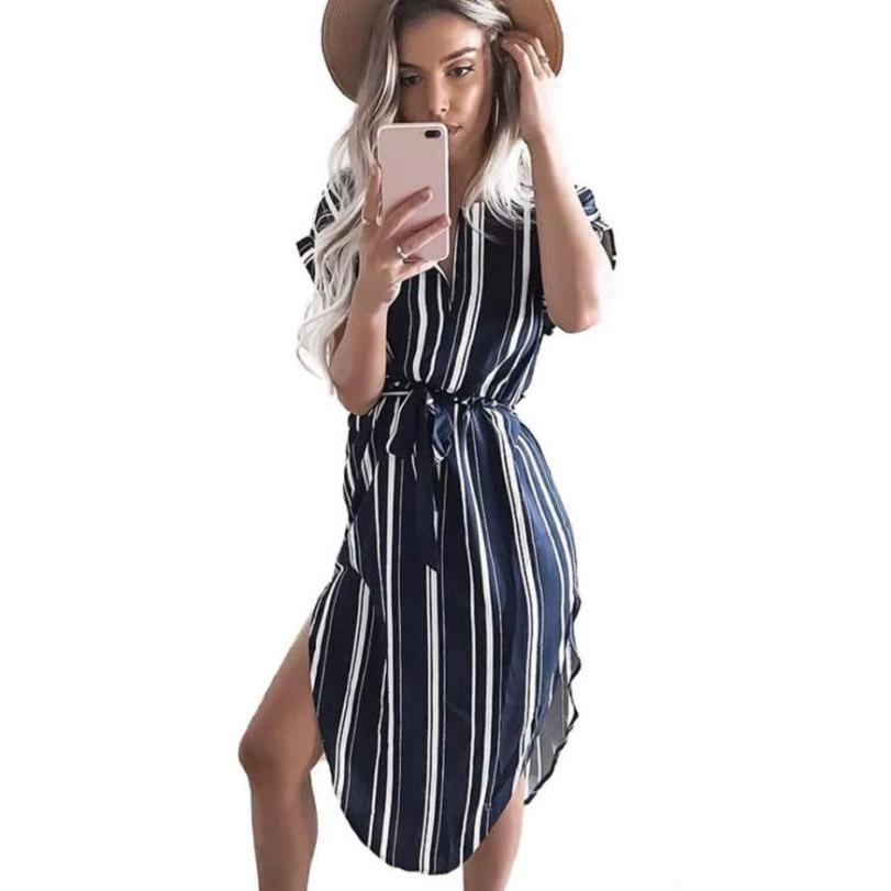 68e46a5cb60 Women Casual Stripes Shirt Dress Summer V Neck Short Sleeve Irregularly Hem  Forked Dresses With Belt #BF Light Purple Dresses For Juniors Knit  Sundresses ...