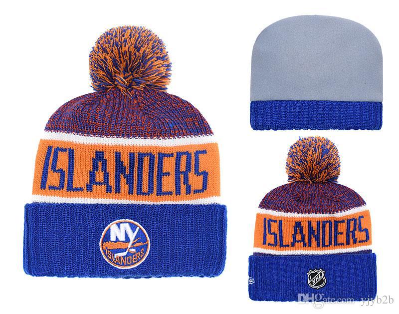 0a92d8e3576 NEW Men s New York Islanders Knitted Cuffed Beanie Hats Striped ...
