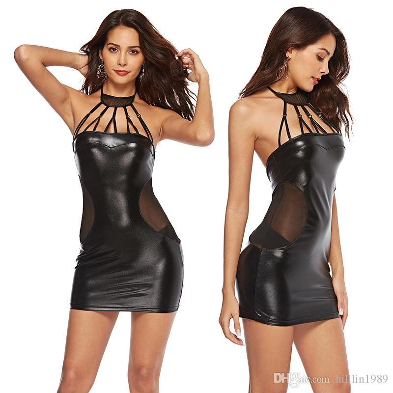 Large Size Party Dresses For Women Sexy Halter Faux Leather Night Club  Bodycon Dress Plus Size Tight PVC Clubwear UK 2019 From Hilllin1989 062622028f0d
