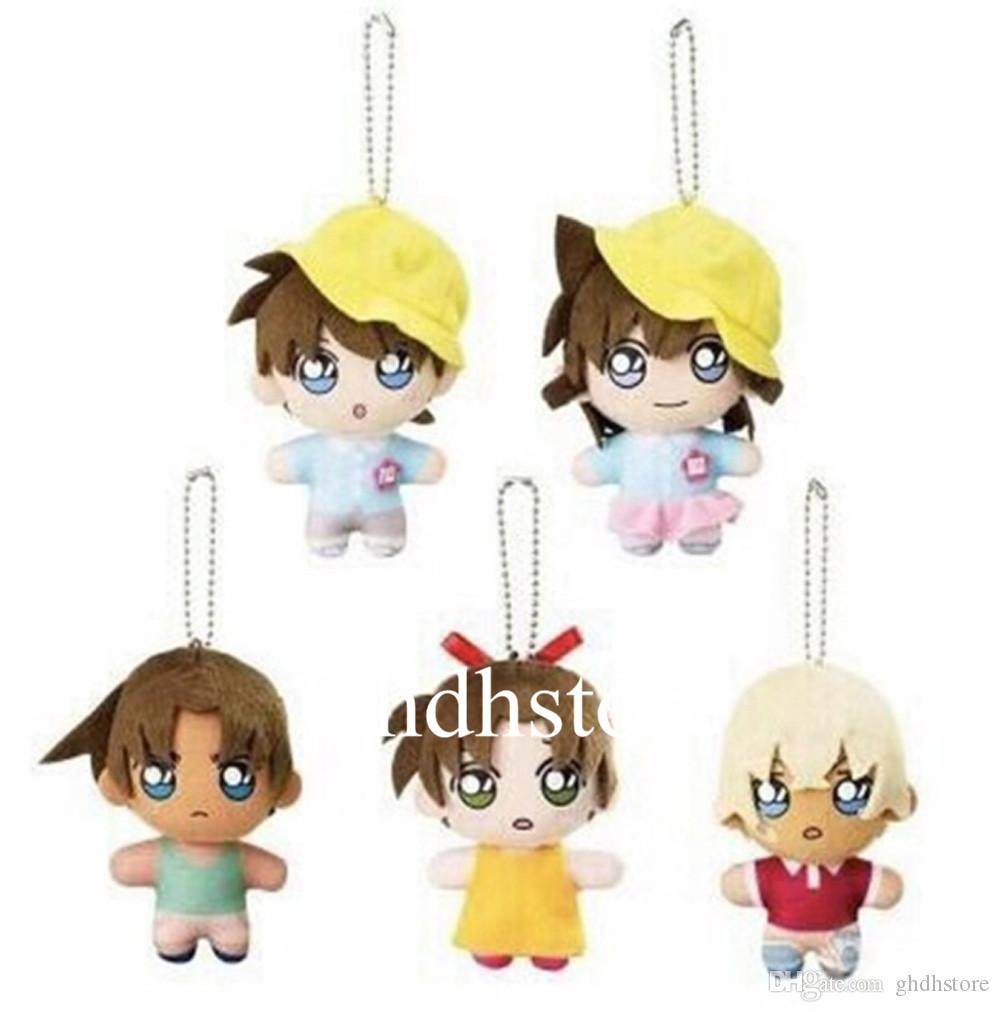 "Top New 5 Styles 3"" 8CM Q Conan Baby Plush Plush Keychain Mini Bag Xmas Pendant Lovely Gift Doll"