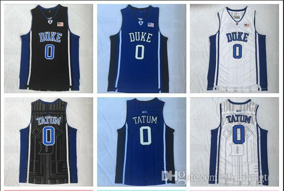 NCAA Duke College 0 Tatum White, Black And Blue Embroidered Basketball Swingman Jersey