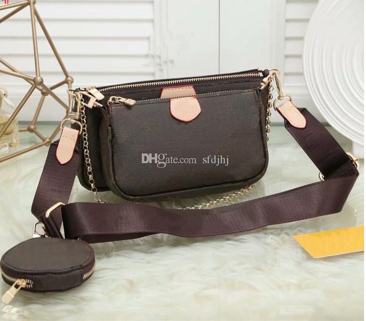 Designer bolsas de luxo bolsas mulheres favorita mini pochette acessórios crossbody bolsa vintag bolsas de ombro couro cor-de-rosa cor tiras de cor rosa