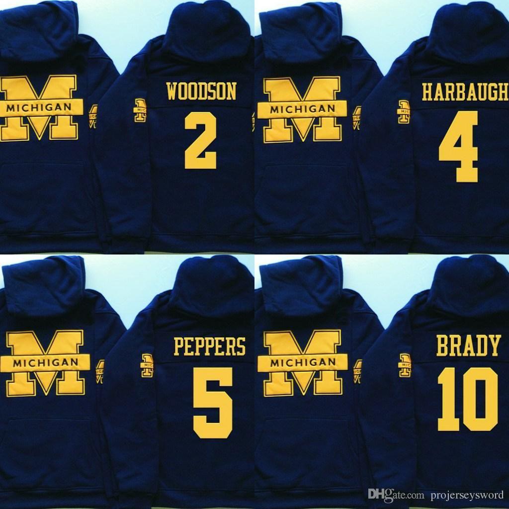 the best attitude 475cd 2b7a9 NCAA Michigan Wolverines Hoodie Jersey 4 Jim Harbaugh 5 Jabrill Peppers 10  Tom Brady 21 Desmond Howard Football Sweatershirt Jerseys