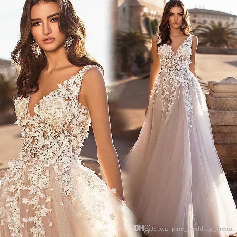 9201e1cf7bb Discount 2019 Blush Pink Chic A Line Wedding Dresses V Neck Sleeveless  Backless Beach Bohemian Bridal Gowns Sweep Train Vestidos De Noiva A1 Wedding  Dresses ...