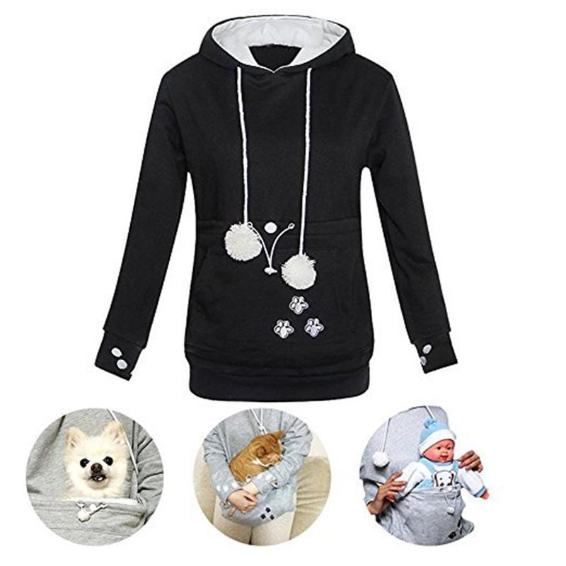 b8562564e0bfc Autumn Winter Women Hoodies Kangaroo Pocket Pets Pouch Pullovers ...