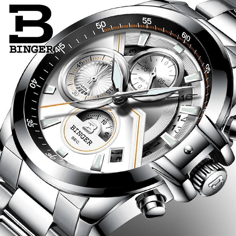 Multifunction Army Watch Switzerland BINGER 2019 Swimming Automatic Watch Men Calendar Week Moon phase Sapphire Luminous hands