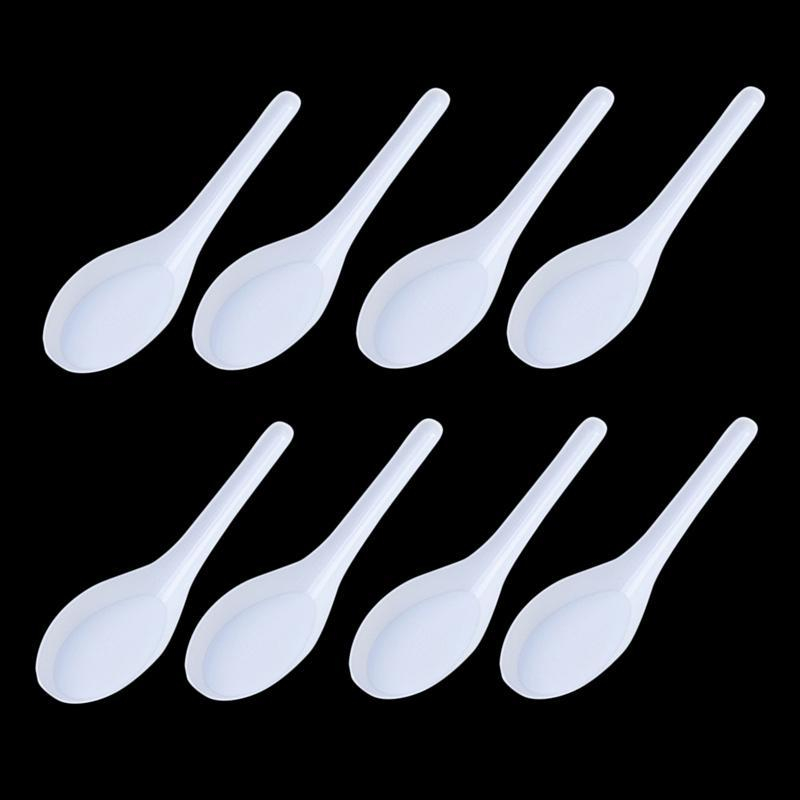 Home Kitchen Clear Plastic Disposable Soup Spoons Asian Soup Spoons White