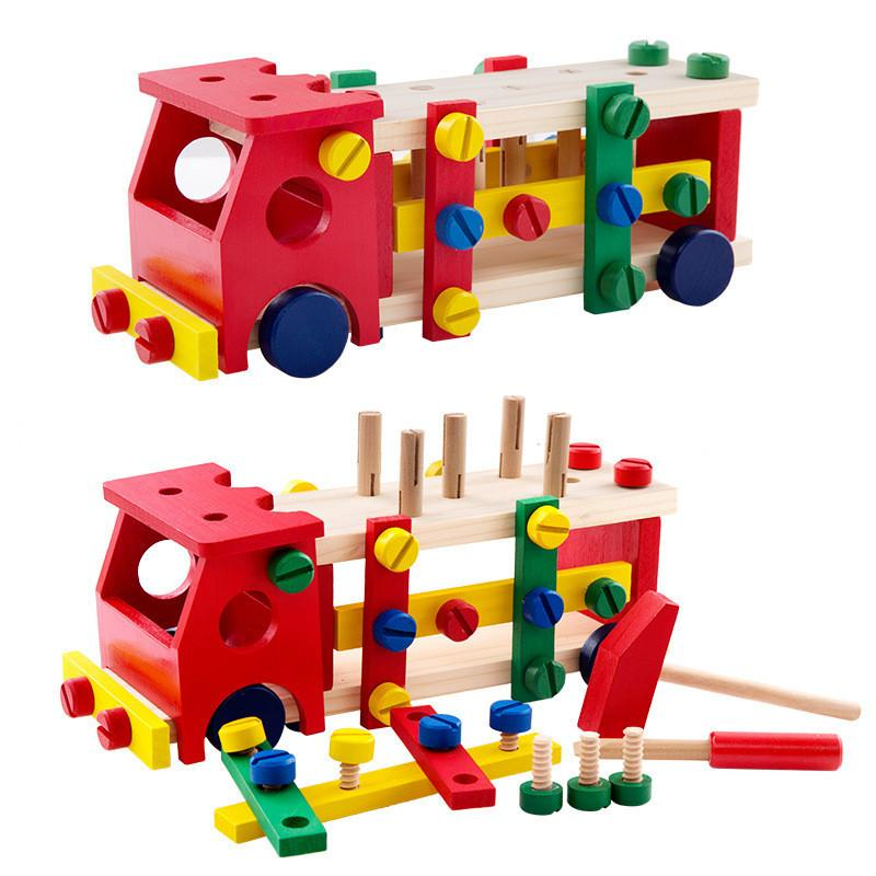 New Wooden Toy Tools kids tool car Disassemble Table games Learning Educational Knock on the ball Screw assembly garden game