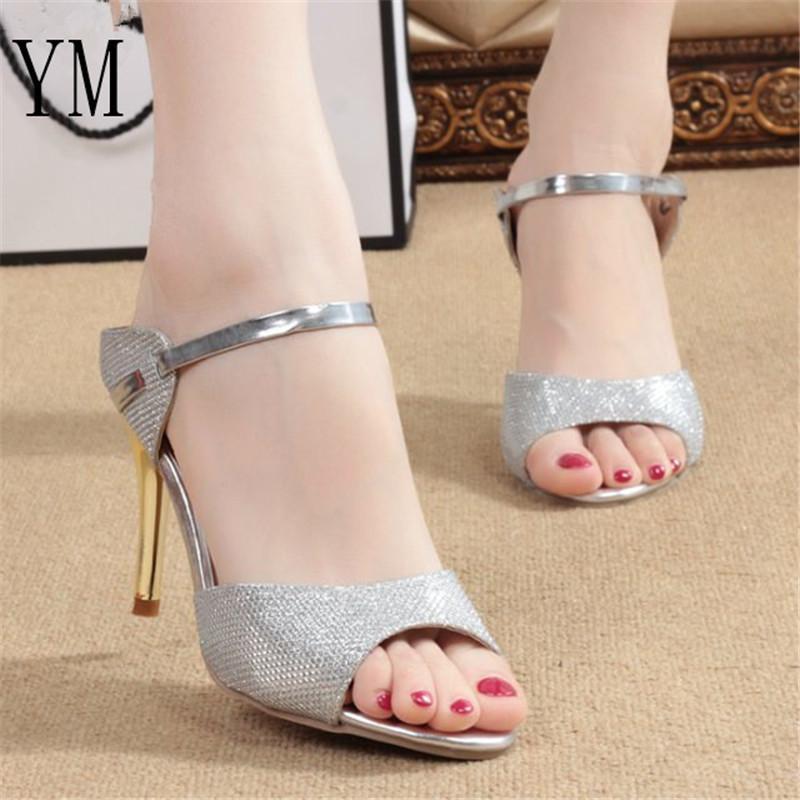 717644d5143 2019 Dress Hot Summer Women Pumps Small Heels Wedding Shoes Gold Silver  Stiletto High Heels Peep Toe Women Heel Sandals Ladies Shoes 34 41 Cheap  Shoes ...