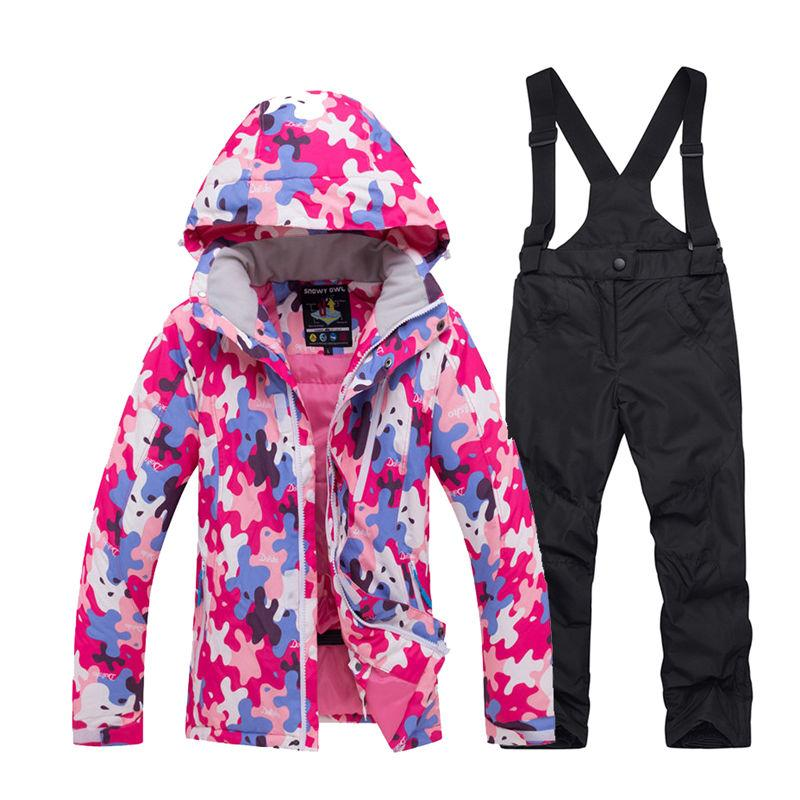 20601275e8 2019 Cheap Children S Snow Clothing Snowboarding Sets Waterproof Sports Wear  Boy Or Girl Ski Jacket And Strap Snow Pant Kids Costume From Portnice