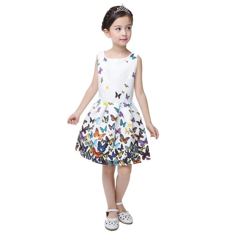 415e40fb802 Compre Linda Chica De Moda De Verano Vestido Estampado De Flores Sin Mangas  Del Partido De La Princesa Vestidos De Novia De Las Niñas Tutu Nueva Ropa  ...