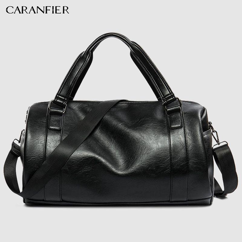 a22657943063 CARANFIER Mens Top PU Leather Handbags Travel Bags Classic Workout Shoulder  Handbag Male Bag Men Sports Bags Gym Crossbody Packs