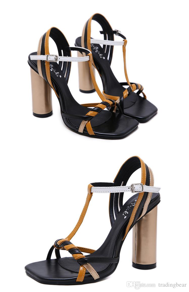 2019 Mixed color patchwork T Strappy high heels designer sandals fashion luxury designer women shoes Size 34 To 40