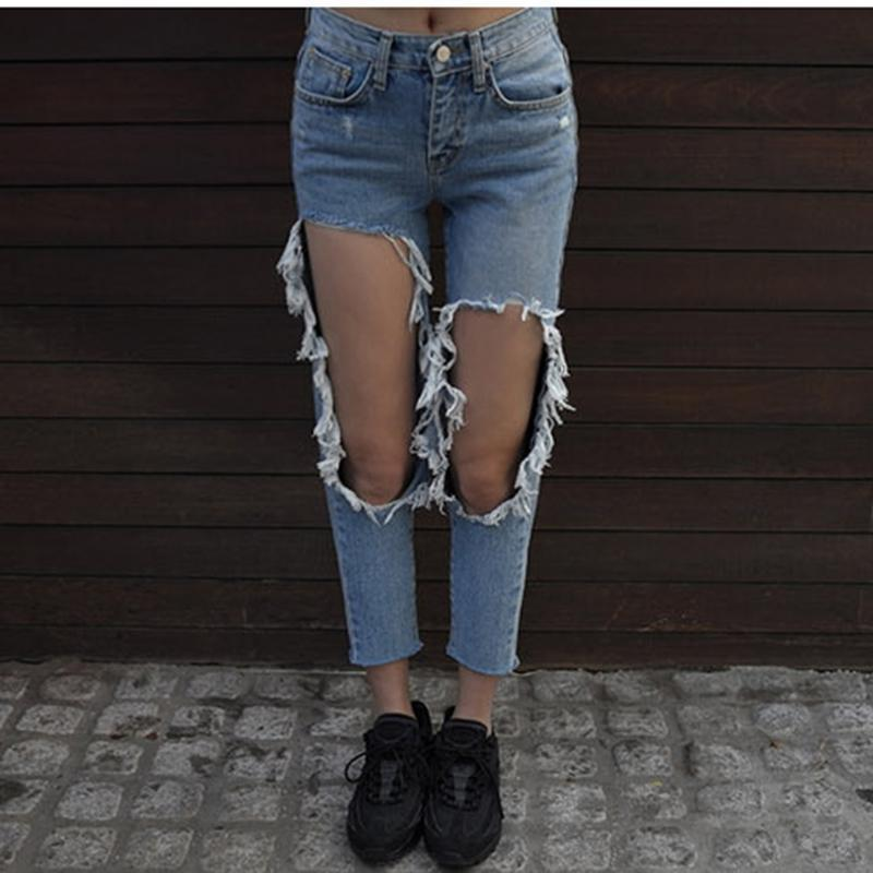 76d4aad840b 2019 Womens Knee Big Hole Jeans High Waist Ankle Length Pants Cotton Denim  Loose Washed Pencil Pants Beggar Jeans Pencil Harem From Derrick82