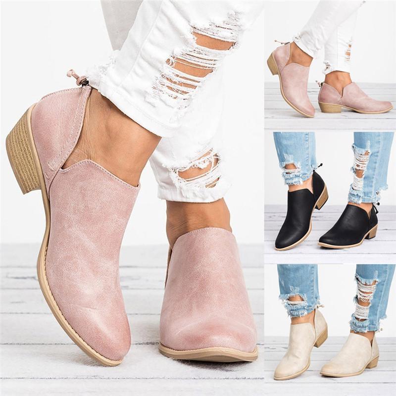 Compre Zapatos De Las Mujeres Moda Tobillo Cuero Sólido Martin Botas Botas  Cortas Punta Sólida Martin Solo Zapatos Otoño A  34.72 Del Beasy111  9ad6499e349b