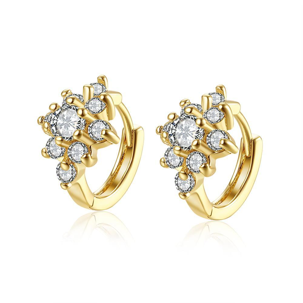 Gorgeous Flowers Small Fresh Women Clip-on Back Pendientes Shinning Luxury Gold CZ Zircon Diseñador simple Pendiente de mujer