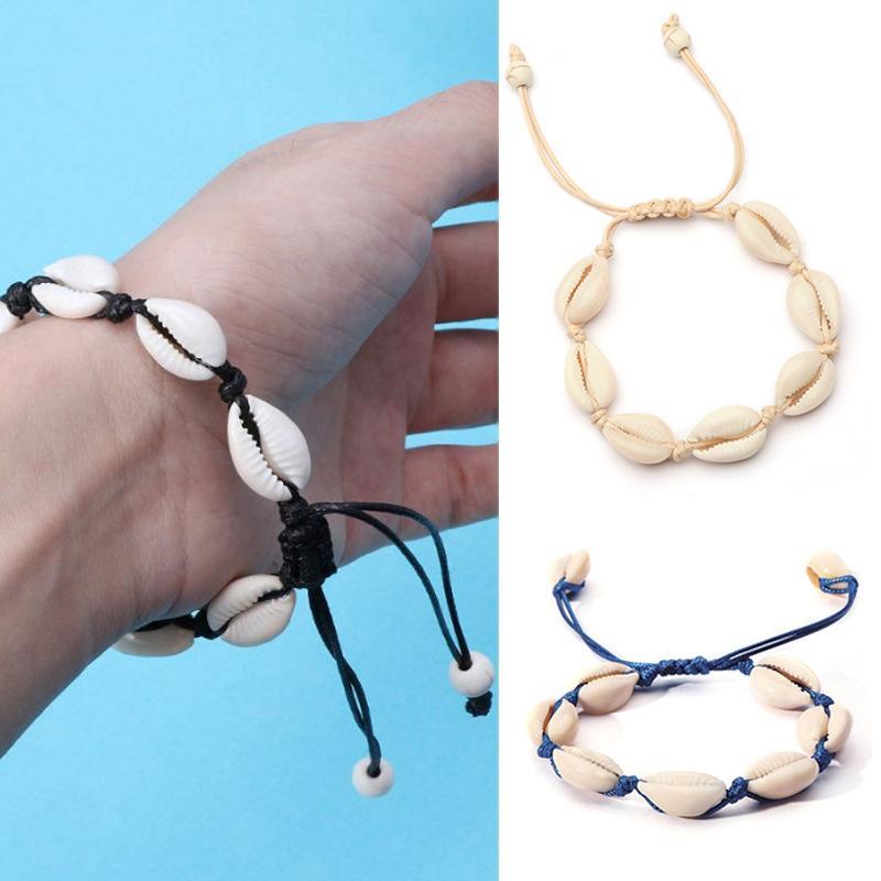 taille 40 d3905 f3904 Main Naturel Coquillage Bracelet Mode Femme Main Tricot Coquilles Perles  Bracelets Lady Bijoux Fête Festival Cadeau TTA1552