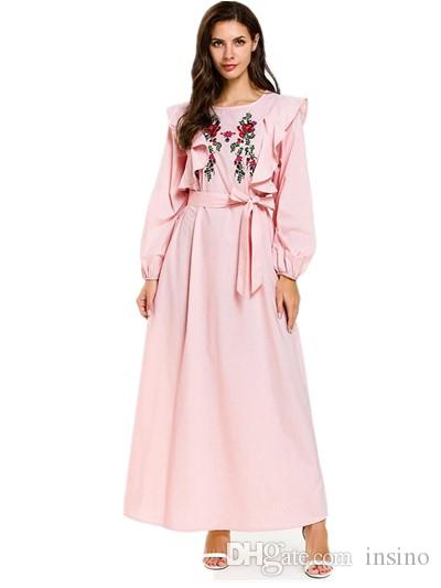 3193f94fd267e1 2019 Turkish Abaya Dresses Muslim Modest Fashion Dirndl Bow Tie Ramadan  Festival Long Sleeve Ruffle Embroidered Maxi Dress 197631 From Insino