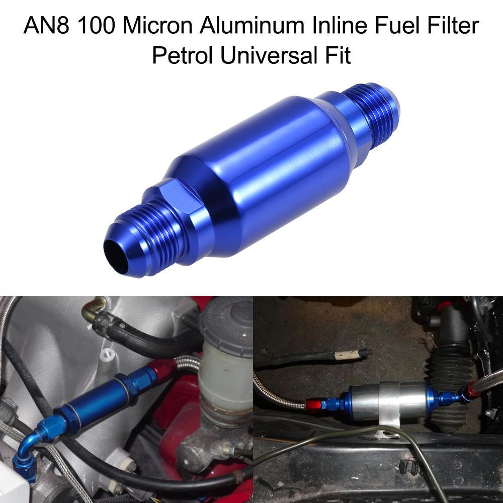 AN8 100 마이크론 알루미늄 인라인 연료 필터 / 휘발유 유니버설 피트