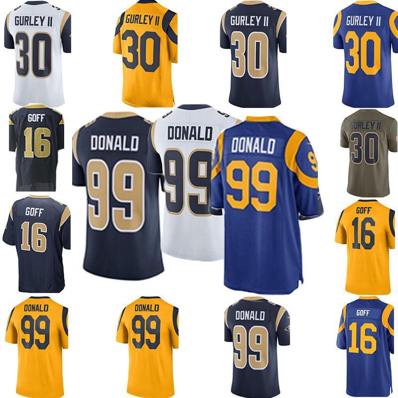 100% authentic c9b44 69331 Rams Football Jerseys 2019 NEW 30 Gurley Jerseys 16 Goff Rugby uniform 99  Aaron Donald Jerseys 5 Nick Foles