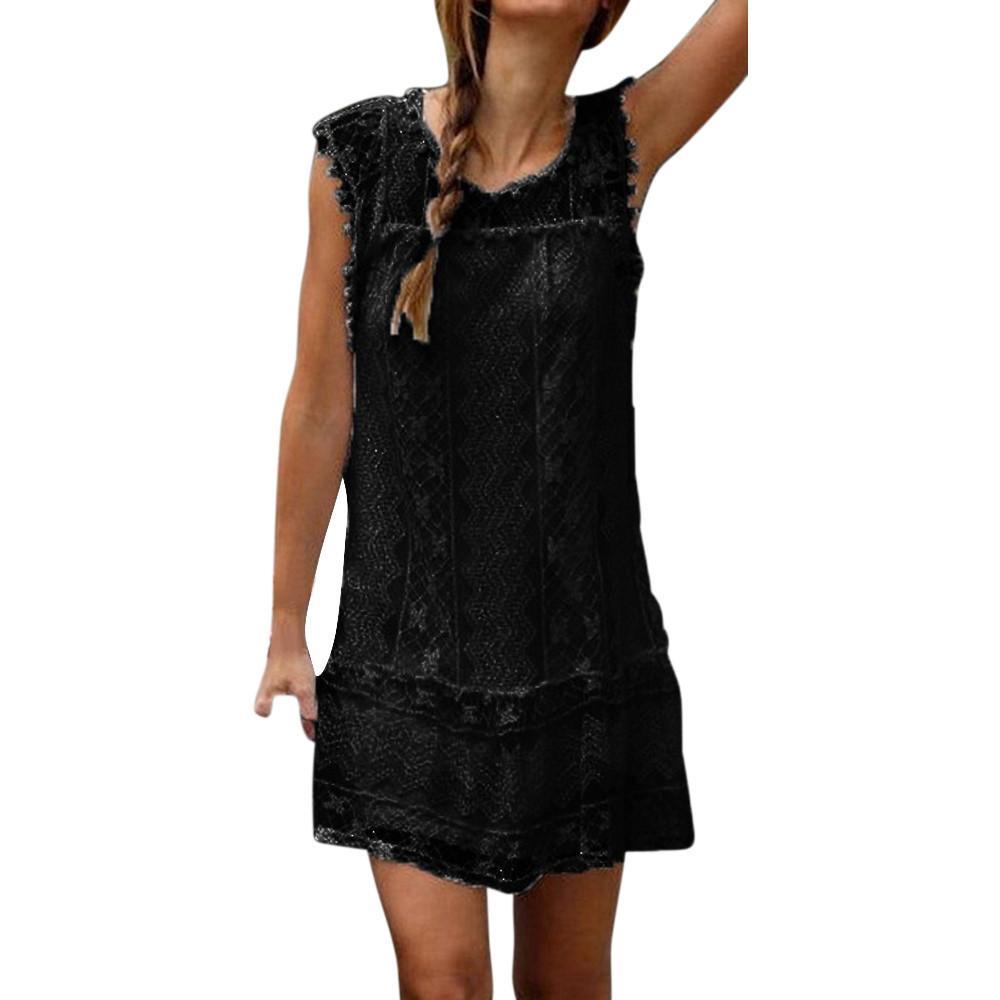 28924535dfb9c1 Women Black Lace Dress Summer Sleeveless O Neck Shift Dresses Femininas  Korean Hollow Out Dress Vestidos Mujer  10 Blue Party Dress Plus Size Party  Dress ...