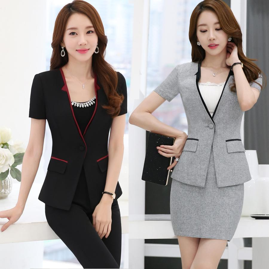 56e609f6c3bdf Formal OL Styles Professional Business Women Suits With Jackets+Short skirt  And Pants Female Trousers Sets Summer Blazers Outfits Plus Size