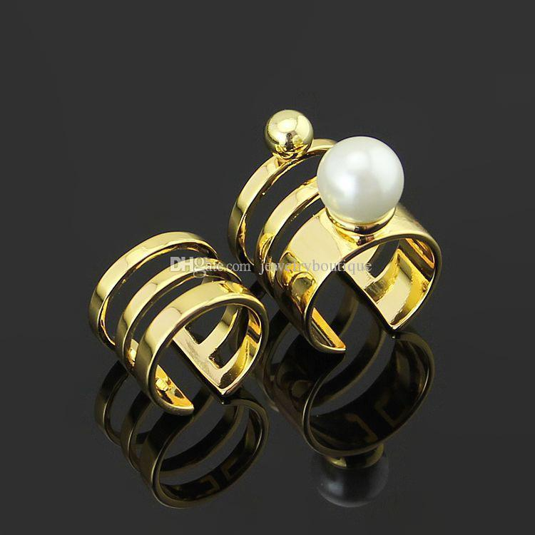2pcs in a set Hot sale 316L Titanium steel hollow Opening Ring Mid Finger Knuckle Rings with pearl spring combination Rings Geometry Style J