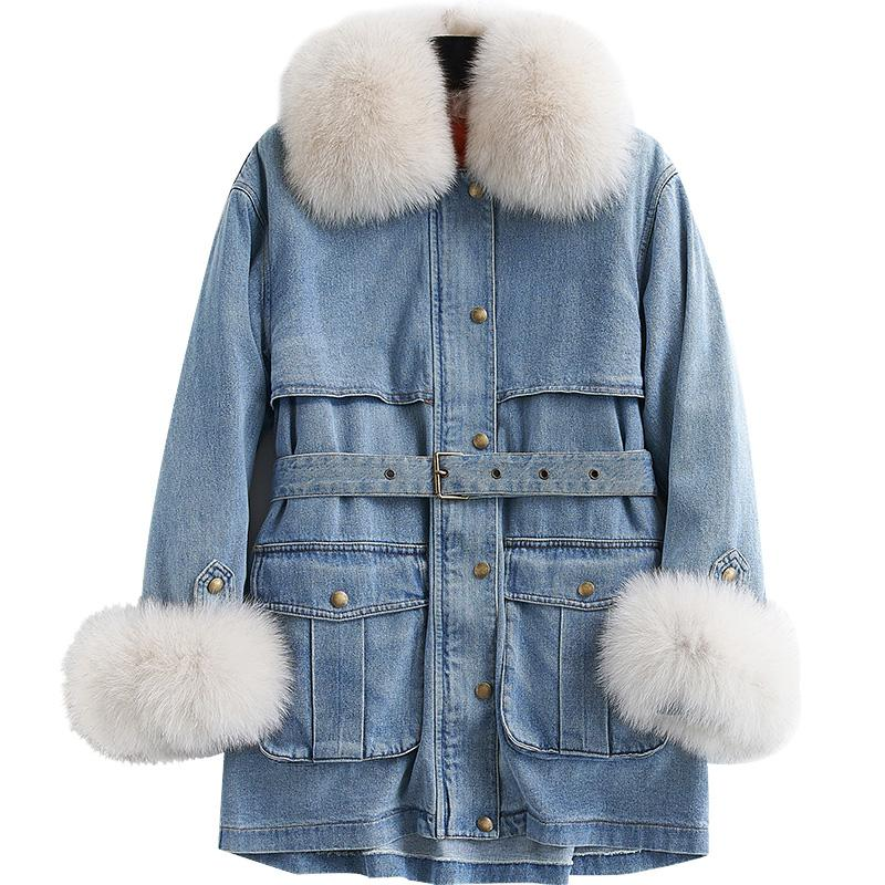 d0a60d0cb8 2019 Winter Denim Jacket Women Down Jacket Removable Liner Fox Fur Parka  2018 Fashion Brand Womens 90% White Duck Down Jeans From Splendid99, ...