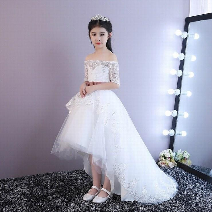ab87d24e5345 High Low Flower Girl Dresses Boat Neck Half Sleeve Lace Kids Evening ...