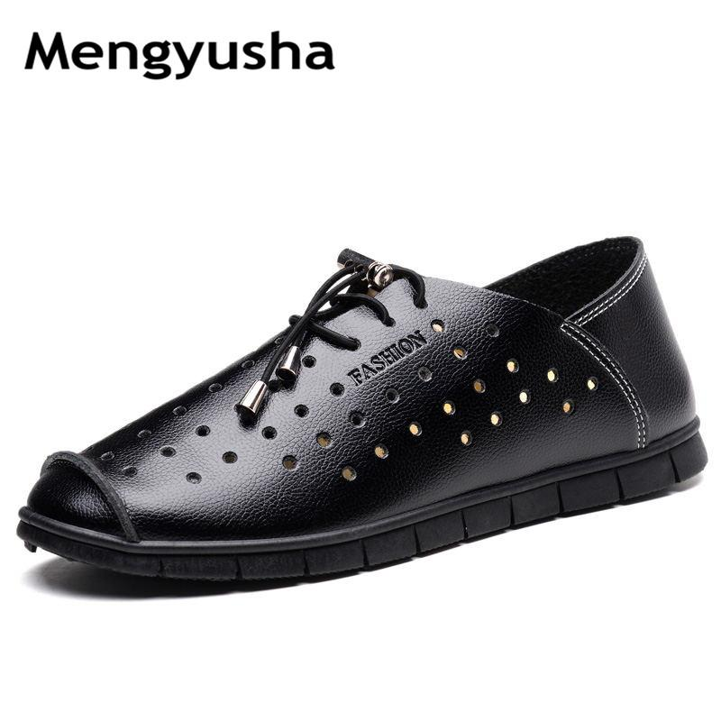 2018 summer new style men's sandals soft comfortable trend beach shoes hollow breathable leather men's shoes