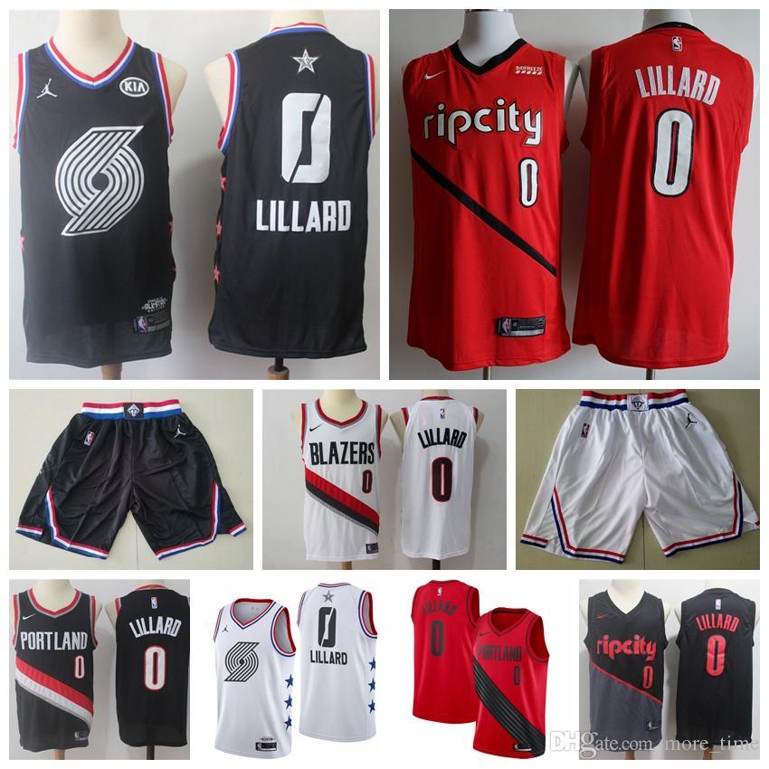 best service f1207 191d0 2019 Mens Playoffs Edition Damian #0 Lillard Basketball Jersey Stitched Rip  City Retro Jersey Lillard All 2019 Star Basketball Shirts