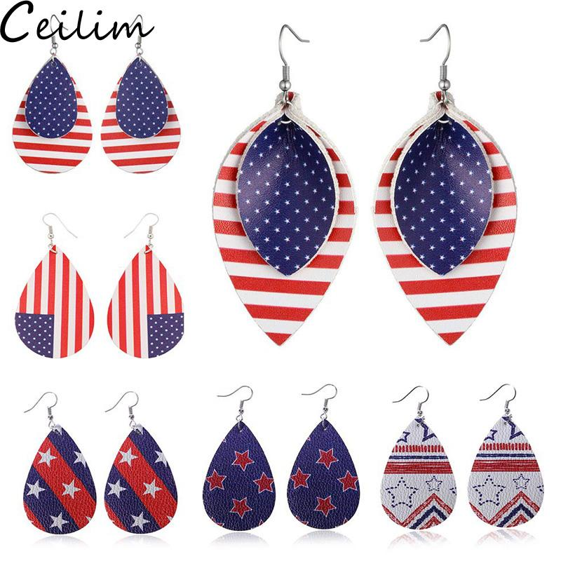2019 Hot Pattern Leaf Drop Leather Earrings for Women American Flag five-pointed Star Waterdrop Dangle Earring Independence Day