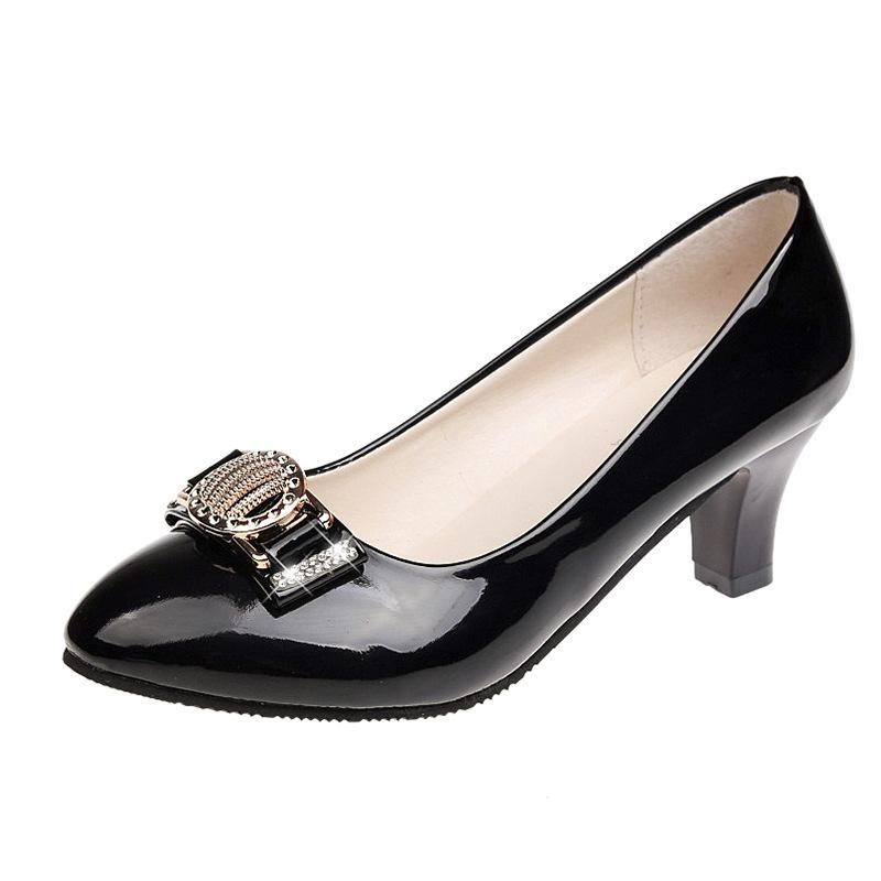 eb8c4a5ae8d2 Dress Shoes Black Professional Women S Work Office Rhinestone White High  Heels Pumps Wedding Bridal Woman Big Size 41 42 Walking Shoes Flat Shoes  From ...