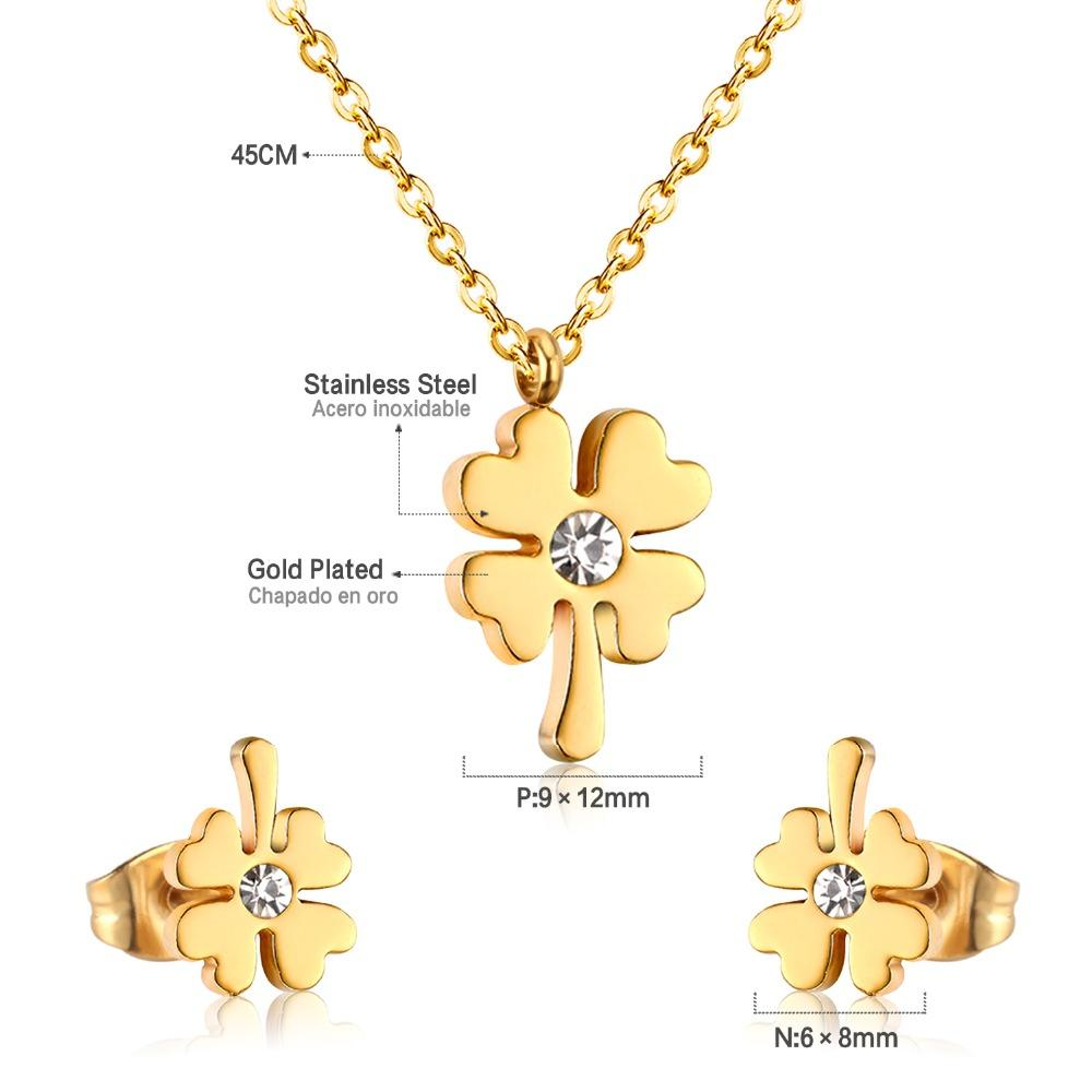 ASONSTEEL Cubic Zirconia Four-leaf Clover Pendant Necklace For Women Jewelry Set Gold/Silver Stainless Steel ,Anti-allergy