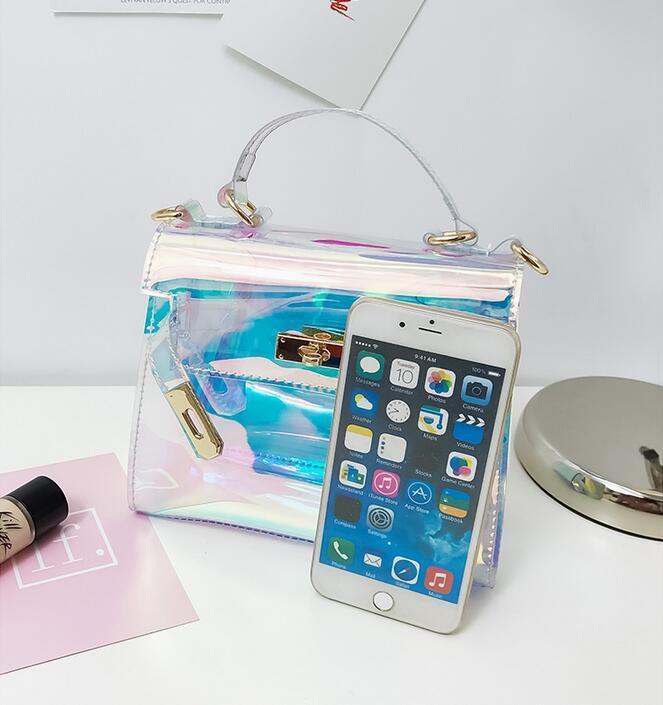 Women Plastic Messenger Handbag Transparent Laser Handbag Clutch Shoulder Crossbody Bag Chain Bag Clear Bag Evening Purse PP-877