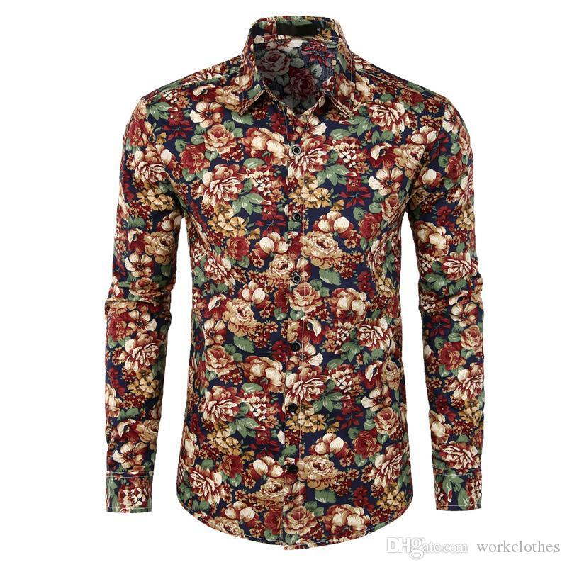 Hot Sale Size: S-XXXL / 2018 New Fashion Floral Print Slim Fit Party Shirts Men's Long Sleeve Casual Dress Shirts Chemise